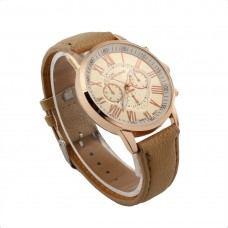 Faux Leather Classical Watch - Stone