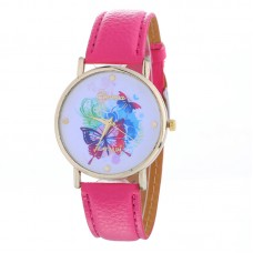 Faux Leather Butterfly Watch - Hot Pink