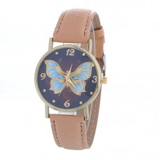 Faux Leather Butterfly Watch - Stone