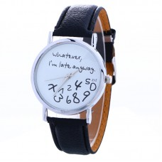 Faux Leather Whatever Watch - Black