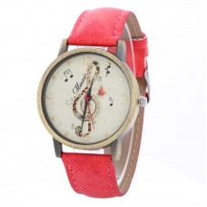 Faux Leather Music Watch - Red