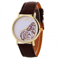 Faux Leather Butterfly Watch - Brown