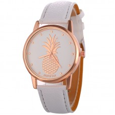 Faux Leather Pineapple Watch - White