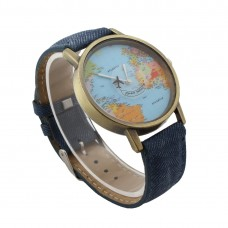 Faux Leather Travelling Watch - Denim