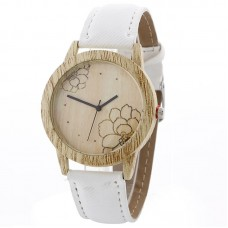 Faux Leather Mock Wood Lotus Watch