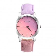 Faux Leather half/Half Watch - Pink/Purple