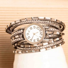 Faux Suede Bracelets Gray Rhinestone Watch