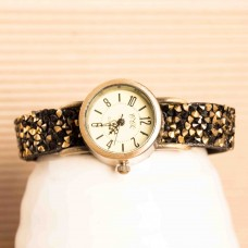 Faux Suede Bracelets Black Rhinestone Watch