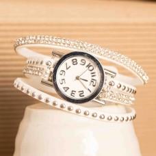 Faux Suede Bracelets White Rhinestone Watch