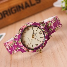 ETHAN Acrylic with Rubber floral print  Watch