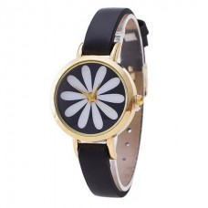 Faux Leather Daisy Watch