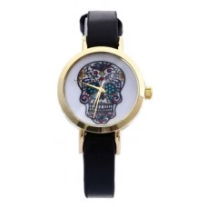 Faux Leather Scull Watch